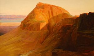 Masada (or Sebbeh) on the Dead Sea, Edward Lear, 1858, on display at the California Palace of the Legion of Honor