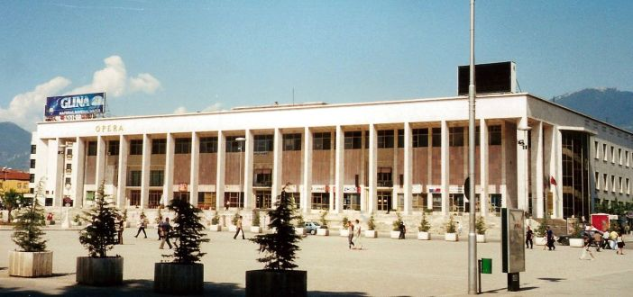 The Palace of Culture of Tirana whose first stone was symbolically laid by Nikita Khrushchev in 1959. Photo by Jeroen CC by SA 3.0