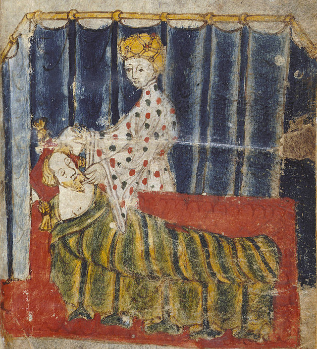 Lady Bertilak at Gawain's bed (from original manuscript, artist unknown)