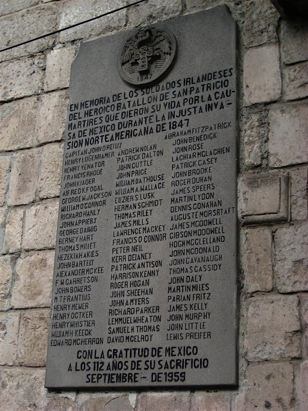 """In memory of the Irish soldiers of the heroic St. Patrick's Battalion, martyrs who gave their lives to the Mexican cause in the United States' unjust invasion of 1847."" photo credit: Fennessey CC .30 by SA"