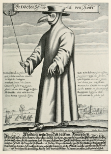 "Copper engraving of Doctor Schnabel [i.e. Dr. Beak] (a plague doctor in 17th-century Rome) with a satirical macaronic poem (""Vos Creditis, als eine Fabel, / quod scribitur vom Doctor Schnabel"")"