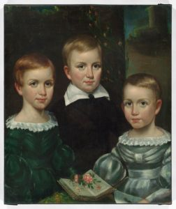 The Dickinson children (Emily on the left), ca. 1840. From the Dickinson Room at Houghton Library, Harvard University