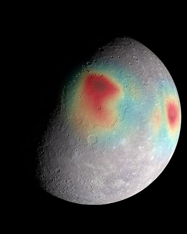 Gravity anomalies on Mercury—mass concentrations (red) suggest subsurface structure and evolution, photo courtesy of NASA