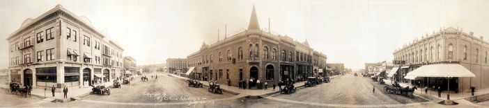 Panoramic view of Sixth and Main Streets in Rapid City, ca. 1912