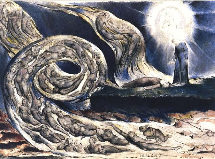Blake's The Lovers' Whirlwind illustrates Hell in Canto V of Dante's Inferno