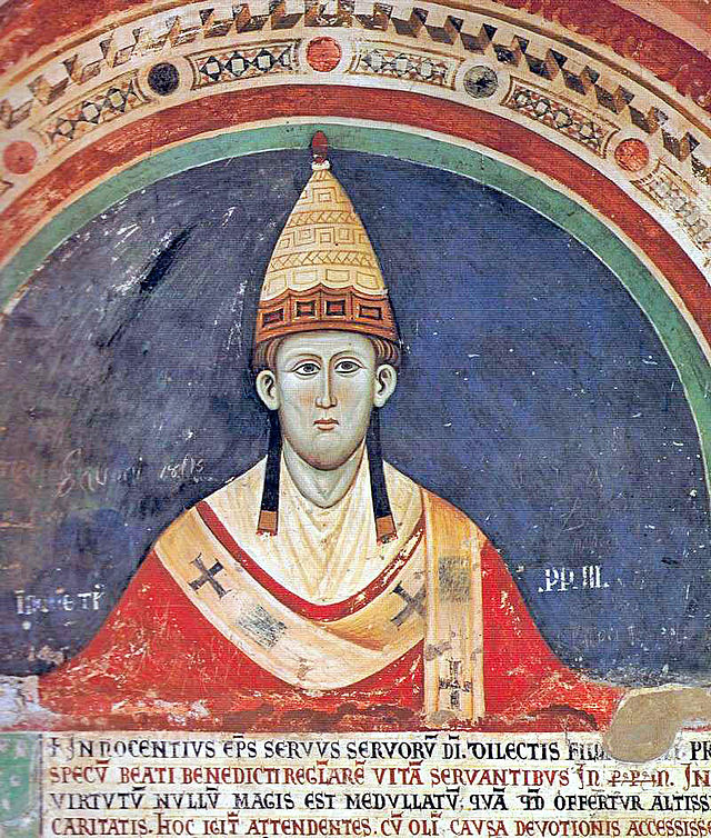 Pope Innocent III wearing a Y-shaped pallium.
