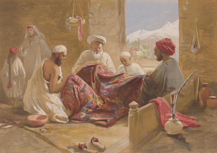 A Muslim shawl making family shown in Cashmere shawl manufactory, 1867, chromolith., William Simpson.