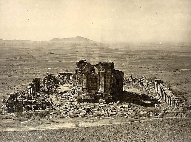 General view of Temple and Enclosure of Marttand (the Sun), at Bhawan, ca. 490–555; the colonnade ca. 693–729. Surya Mandir at Martand, Jammu & Kashmir, India, photographed by John Burke, 1868.