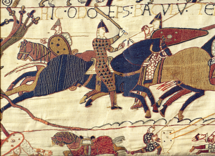 A segment of the Bayeux Tapestry depicting Odo, Bishop of Bayeux, rallying Duke William's troops during the Battle of Hastings in 1066