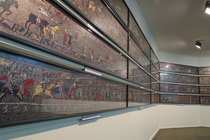 Sections of the 1066 Medieval Mosaic re-creation in New Zealand