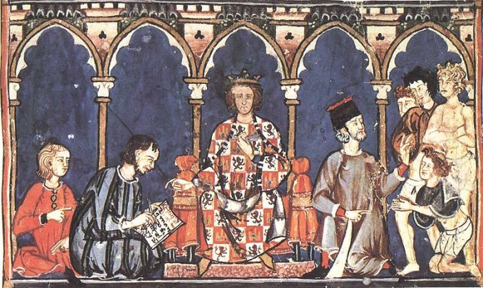 Alfonso X as a judge, from his Libro de los Dados,[2] completed ca. 1280
