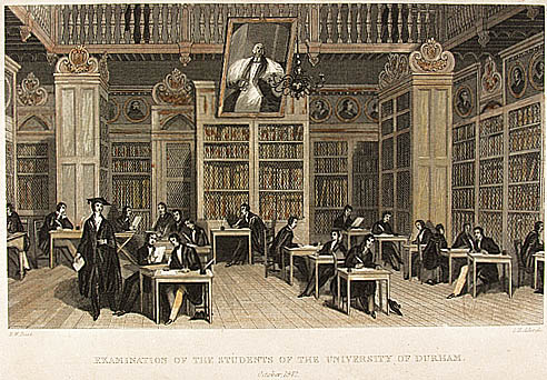 An examination taking place in Cosin's Library, 1842, Durham University