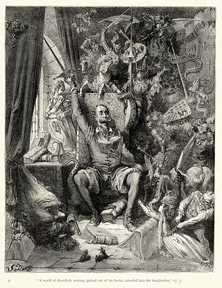 Gustave Doré's first (of about 370) illustrations for Don Quixote.