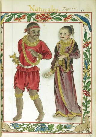 A Tagalog couple of the Maginoo caste depicted on a page of the 16th-century Boxer Codex.