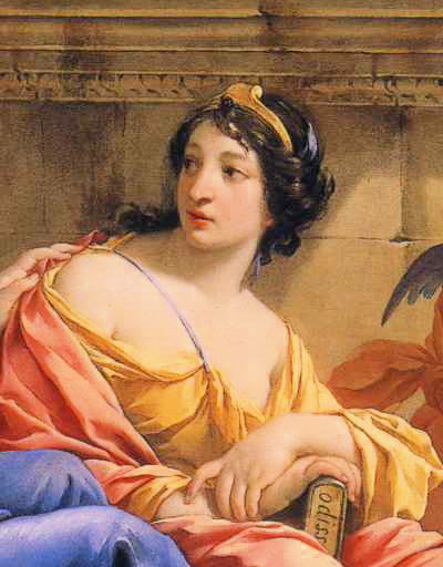Detail of painting The Muses Urania and Calliope by Simon Vouet, in which she holds a copy of the Odyssey
