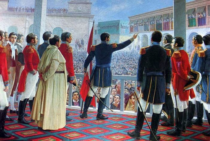 San Martín proclaiming the independence of Peru. Painting by Juan Lepiani