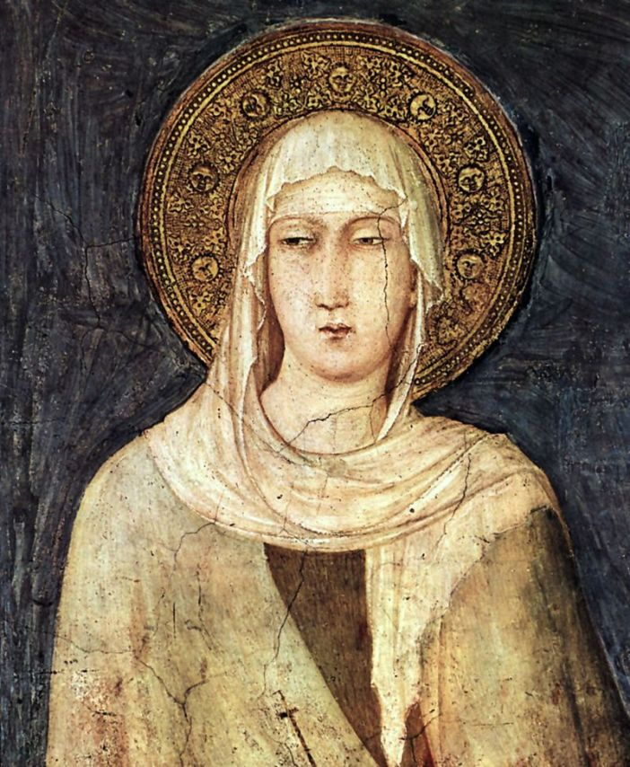 Clare of Assisi (1194-1253), founder of the Poor Clares, in a painting by Simone Martini (1284-1344) in the Basilica of San Francesco d'Assisi.